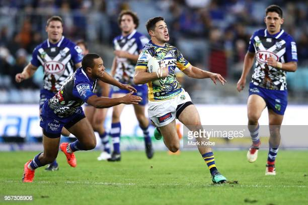 Mitchell Moses of the Eels makes a break during the round 10 NRL match between the Canterbury Bulldogs and the Parramatta Eels at ANZ Stadium on May...