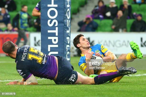 Mitchell Moses of the Eels scores a try during the round 18 NRL match between the Melbourne Storm and the Parramatta Eels at AAMI Park on July 8 2017...