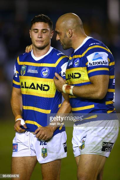 Mitchell Moses of the Eels shows his emotion after missing a kick conversion at full time alongside Tim Mannah of the Eels after the round nine NRL...