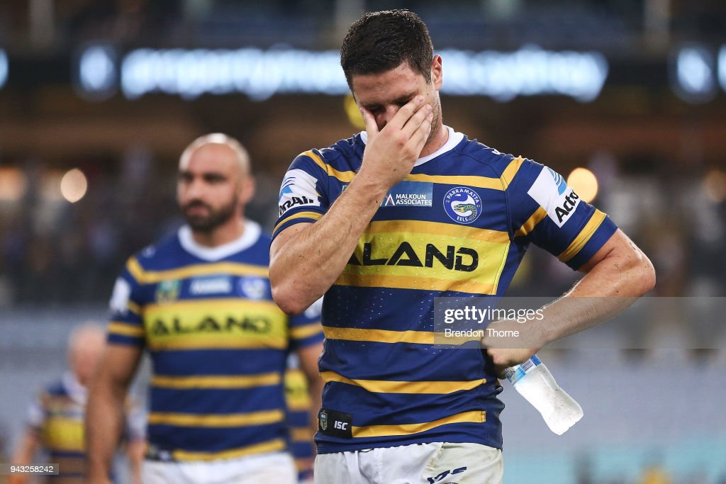 Mitchell Moses of the Eels shows signs of dejection as he leaves the field following the round five NRL match between the Parramatta Eels and the Penrith Panthers at ANZ Stadium on April 8, 2018 in Sydney, Australia.