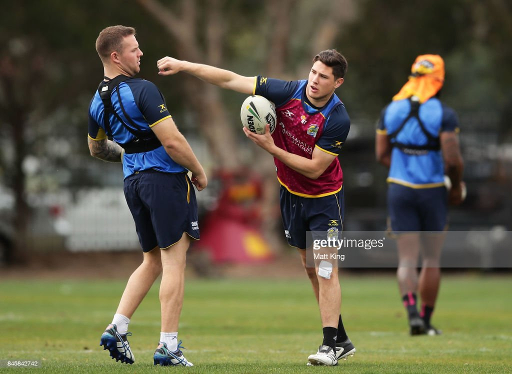 Mitchell Moses of the Eels (R) takes part in a drill with Nathan Brown of the Eels (L) during a Parramatta Eels NRL training session at Old Saleyards Reserve on September 12, 2017 in Sydney, Australia.