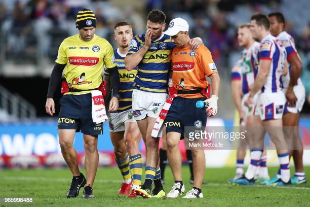 Mitchell Moses of the Eels walks from the field injured during the round 13 NRL match between the Parramatta Eels and the Newcastle Knights at ANZ...