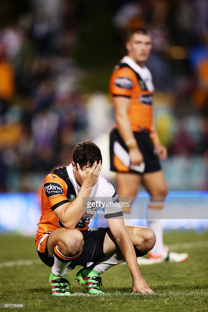 Mitchell Moses of the Tigers looks dejected after fulltime during the round seven NRL match between the Wests Tigers and the Melbourne Storm at Leichhardt Oval on April 17, 2016 in Sydney, Australia.