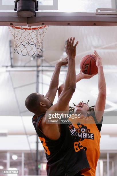 Mitchell Newton drives to the basket during the NBL Combine 2017/18 at Melbourne Sports and Aquatic Centre on April 17 2017 in Melbourne Australia