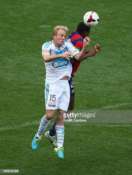 Mitchell Nichols of the Victory heads the ball during the ALeague friendly match between the Melbourne Victory and the Newcastle Jets at AAMI Park on...