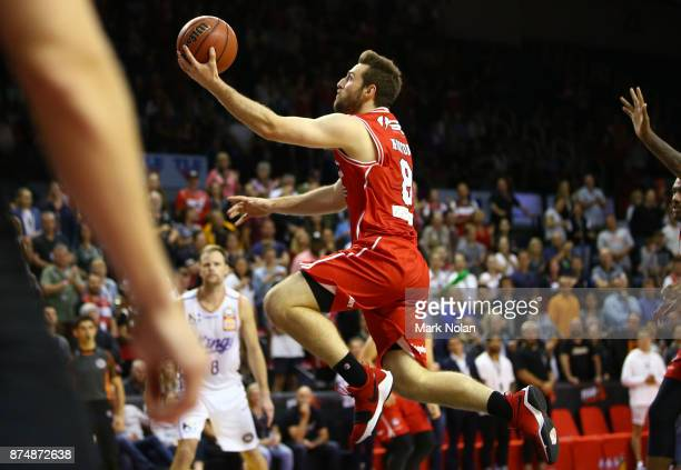 Mitchell Norton of the Hawks drives to the basket during the round seven NBL match between the Illawarra Hawks and the Sydney Kings at Wollongong...