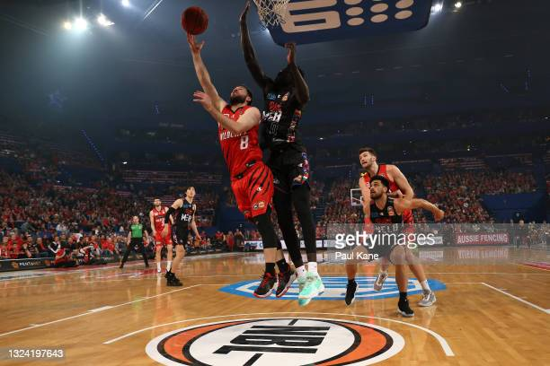 Mitchell Norton of the Wildcats lays up during game one of the NBL Grand Final Series between the Perth Wildcats and Melbourne United at RAC Arena,...