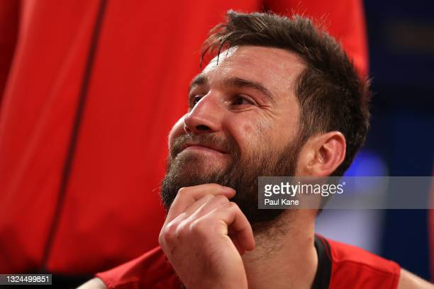Mitchell Norton of the Wildcats looks on from the bench during game two of the NBL Grand Final Series between the Perth Wildcats and Melbourne United...