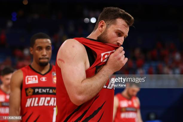 Mitchell Norton of the Wildcats reacts after being defeated during the round 14 NBL match between the Perth Wildcats and the New Zealand Breakers at...