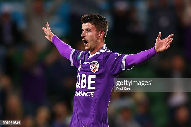 Mitchell Oxborrow of the Glory celebrates scoring from a free kick during the round 11 ALeague match between the Perth Glory and the Western Sydney...