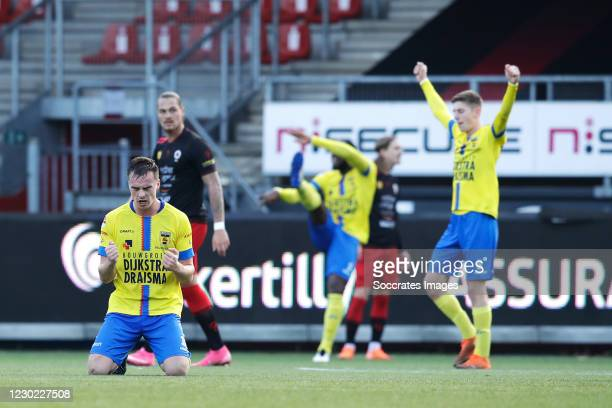 Mitchell Paulissen of SC Cambuur celebrates the victory during the Dutch Keuken Kampioen Divisie match between Excelsior v SC Cambuur at the Van...