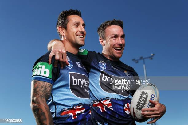 Mitchell Pearce and James Maloney pose during a New South Wales Blues State of Origin Captain's Run at the NSWRL Centre of Excellence on July 09,...