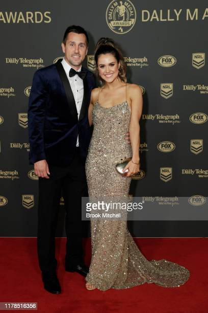 Mitchell Pearce and Kristin Scott arrive ahead of the 2019 Dally M Awards at Hordern Pavilion on October 02, 2019 in Sydney, Australia.
