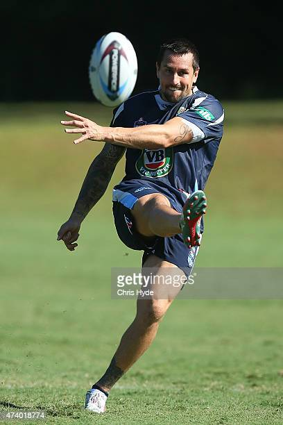 Mitchell Pearce kicks during a New South Wales Blues State of Origin training session at Novotel Coffs Harbour on May 20 2015 in Coffs Harbour...