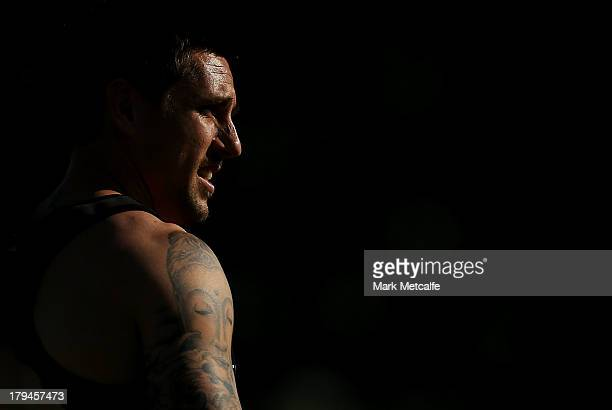 Mitchell Pearce looks on during a Sydney Roosters NRL training session at Moore Park on September 4 2013 in Sydney Australia