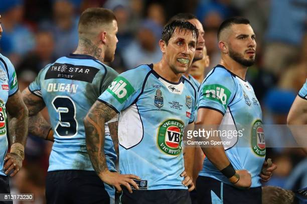 Mitchell Pearce of the Blues looks dejected after a Maroons try during game three of the State Of Origin series between the Queensland Maroons and...