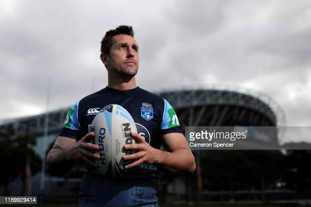 Mitchell Pearce of the Blues poses for a portrait following a New South Wales Blues State of Origin training session at the NSWRL Centre of...