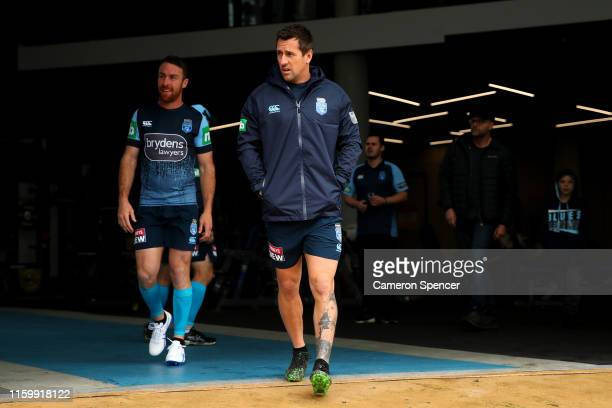 Mitchell Pearce of the Blues prepares to train during a New South Wales Blues State of Origin training session at the NSWRL Centre of Excellence on...