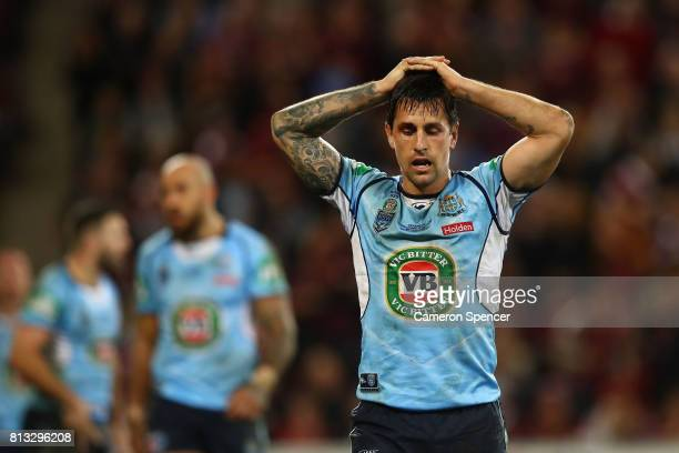 Mitchell Pearce of the Blues reacts during game three of the State Of Origin series between the Queensland Maroons and the New South Wales Blues at...