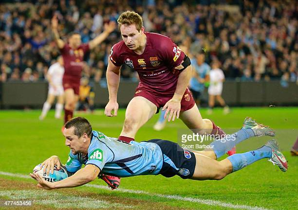 Mitchell Pearce of the Blues scores a try which was later disallowed by the video referee during game two of the State of Origin series between the...