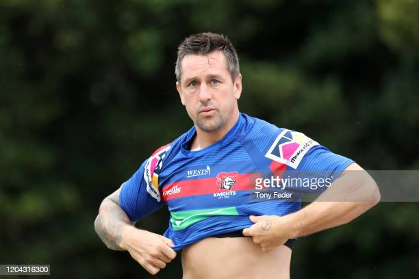 Mitchell Pearce of the Knights during a Newcastle Knights NRL training session at Newcastle on February 06, 2020 in Newcastle, Australia.