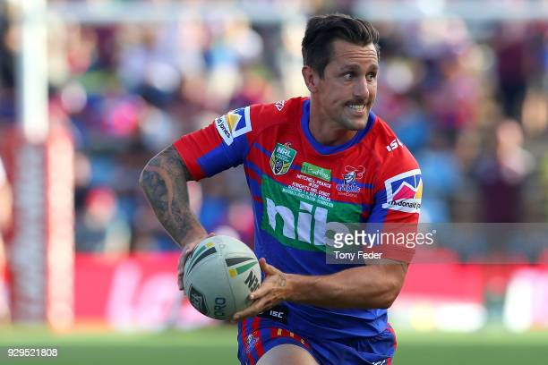 Mitchell Pearce of the Knights in the warm up during the round one NRL match between the Newcastle Knights and the Manly Sea Eagles at McDonald Jones...