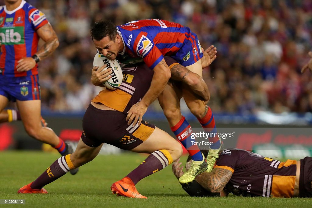 7 Mitchell Pearce of the Knights is tackled during the round five NRL match between the Newcastle Knights and the Brisbane Broncos at McDonald Jones Stadium on April 7, 2018 in Newcastle, Australia.