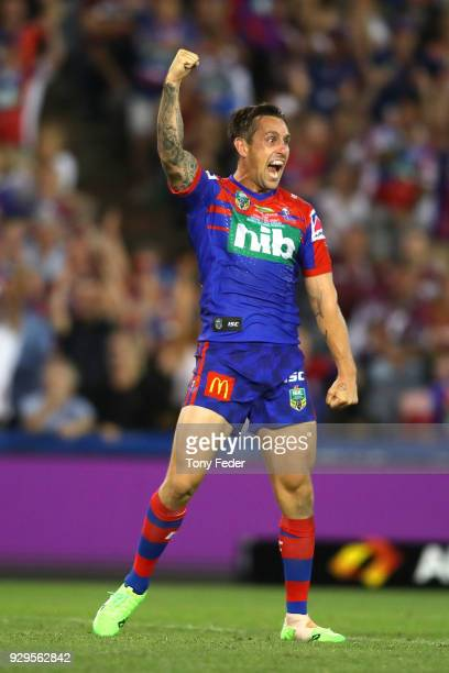 Mitchell Pearce of the Knights kicks a field goal in golden point during the round one NRL match between the Newcastle Knights and the Manly Sea...