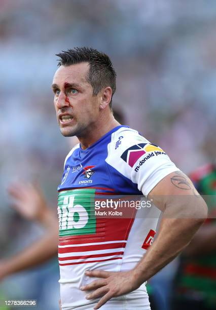 Mitchell Pearce of the Knights looks on during the NRL Elimination Final match between the South Sydney Rabbitohs and the Newcastle Knights at ANZ...