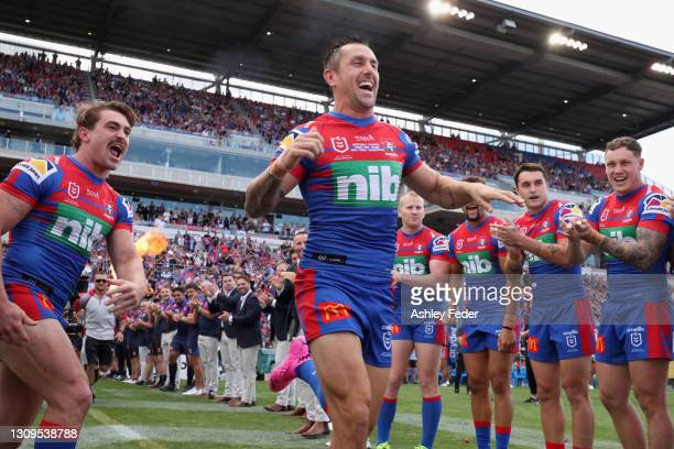Mitchell Pearce of the Knights runs on the ground during the round three NRL match between the Newcastle Knights and the Wests Tigers at McDonald...