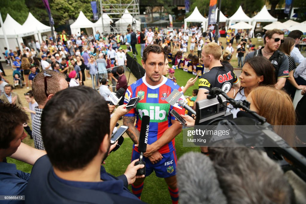 Mitchell Pearce of the Knights speaks to the media during the 2018 NRL season launch at First Fleet Park on March 1, 2018 in Sydney, Australia.
