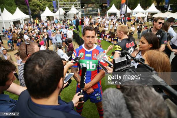 Mitchell Pearce of the Knights speaks to the media during the 2018 NRL season launch at First Fleet Park on March 1 2018 in Sydney Australia