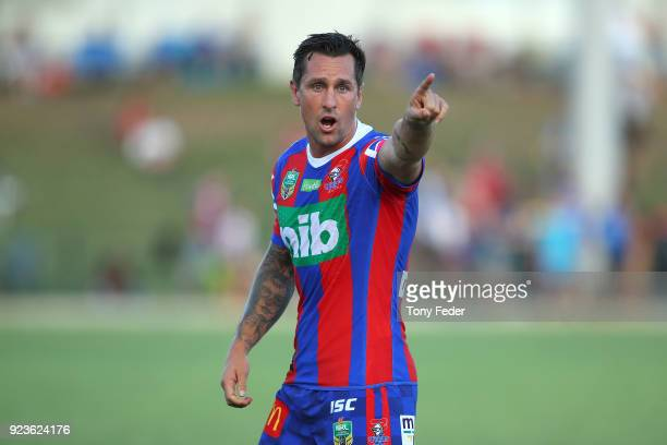 Mitchell Pearce of the Knights warms up during the NRL Trial Match between the Newcastle Knights and the Parramatta Eels at Maitland No 1 Showground...