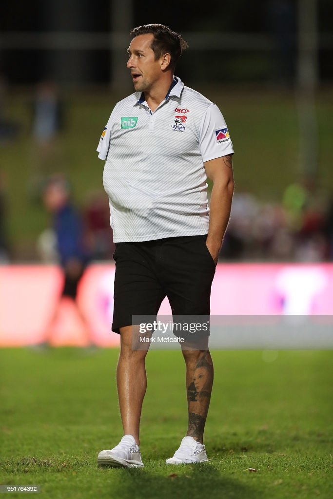 Mitchell Pearce of the Knights watches warm up before the Round eight NRL match between the Manly-Warringah Sea Eagles and the Newcastle Knights at Lottoland on April 27, 2018 in Sydney, Australia.