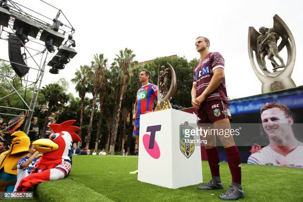 Mitchell Pearce of the Newcastle Knights and Daly CherryEvans of the ManlyWarringah Sea Eagles pose during the 2018 NRL season launch at First Fleet...