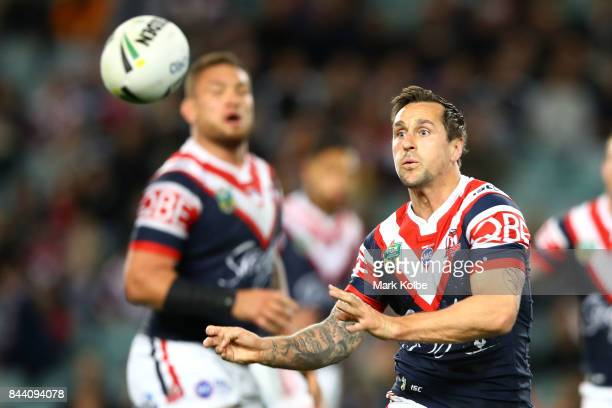 Mitchell Pearce of the Roosters passes during the NRL Qualifying Final match between the Sydney Roosters and the Brisbane Broncos at Allianz Stadium...