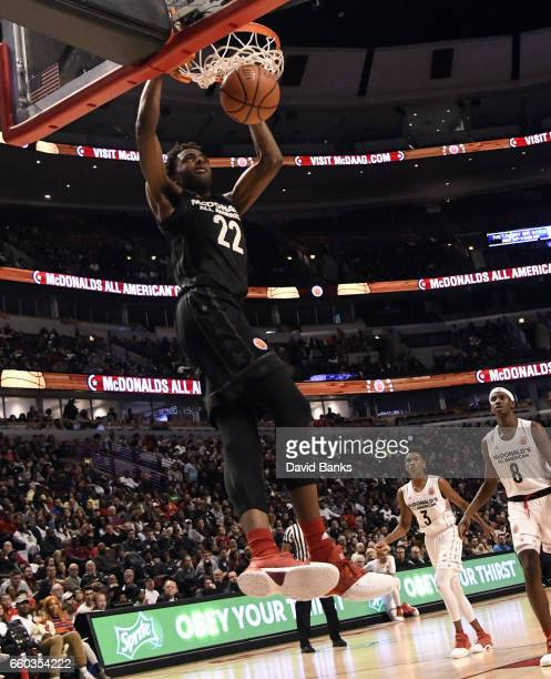 Mitchell Robinson of the boys east team dunks the ball during the 2017 McDonalds's All American Game on March 29 2017 at the United Center in Chicago...