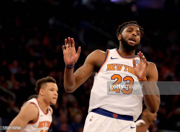 Mitchell Robinson of the New York Knicks celebrates his dunk in the first half against the Brooklyn Nets at Madison Square Garden on January 26, 2020...
