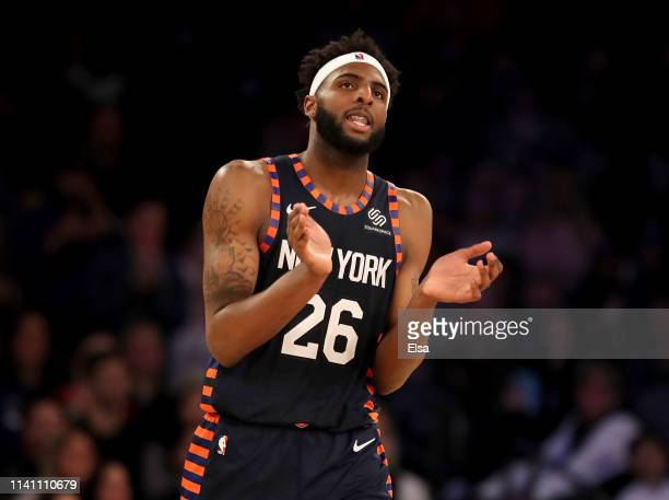 Mitchell Robinson of the New York Knicks celebrates the win over the Washington Wizards at Madison Square Garden on April 07 2019 in New York City...