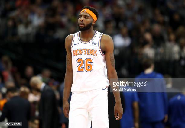 Mitchell Robinson of the New York Knicks during play against the Dallas Mavericks at American Airlines Center on November 02 2018 in Dallas Texas...