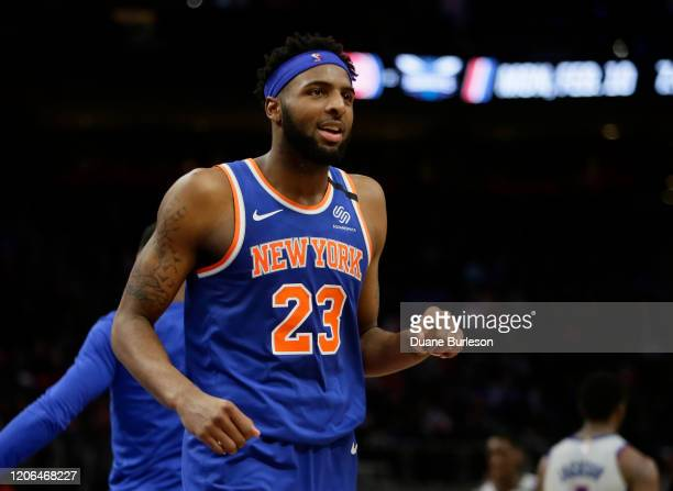 Mitchell Robinson of the New York Knicks during the second half of a game against the Detroit Pistons at Little Caesars Arena on February 8 in...