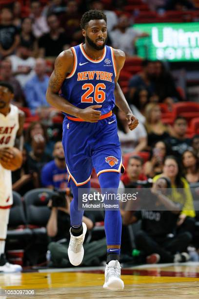 Mitchell Robinson of the New York Knicks in action against the Miami Heat during the second half at American Airlines Arena on October 24 2018 in...
