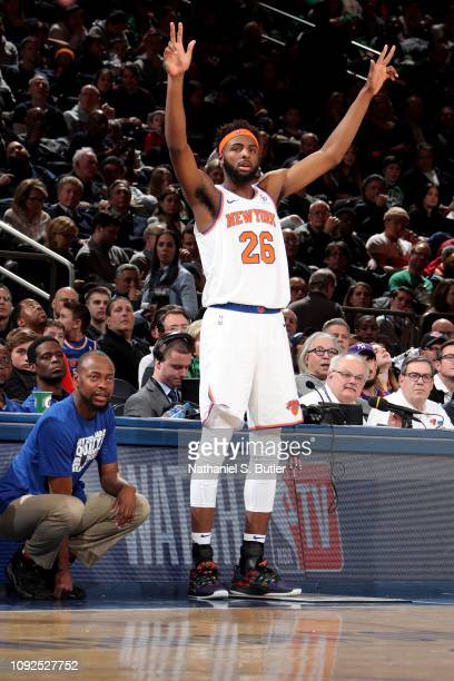 Mitchell Robinson of the New York Knicks reacts against the Boston Celtics on February 1 2019 at Madison Square Garden in New York City New York NOTE...