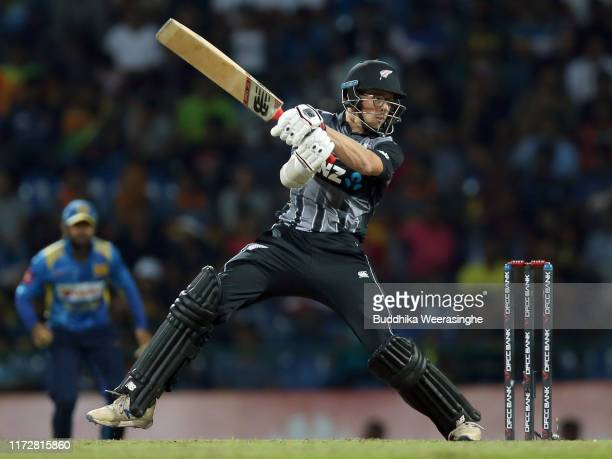 Mitchell Santner of New Zealan in action during the Twenty20 International match between Sri Lanka and New Zealand at Pallekele Cricket Stadium on...
