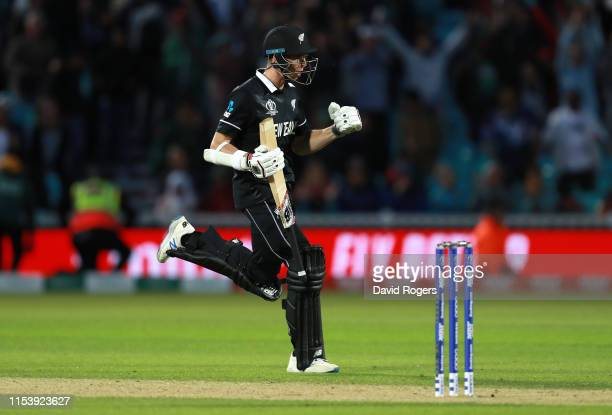 Mitchell Santner of New Zealand as he scores the winning run during the Group Stage match of the ICC Cricket World Cup 2019 between Bangladesh and...