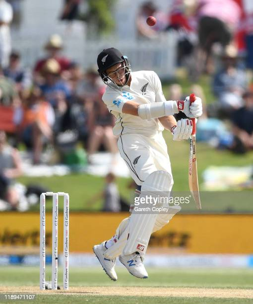 Mitchell Santner of New Zealand avoids a bouncer from Ben Stokes of England during day three of the first Test match between New Zealand and England...
