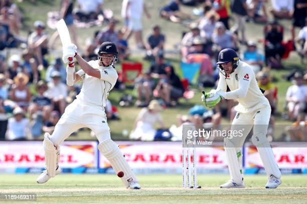 Mitchell Santner of New Zealand bats during day three of the first Test match between New Zealand and England at Bay Oval on November 23, 2019 in...