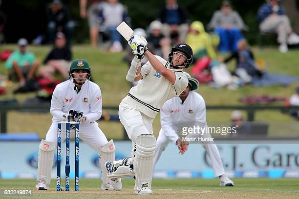 Mitchell Santner of New Zealand bats during day two of the Second Test match between New Zealand and Bangladesh at Hagley Oval on January 21 2017 in...