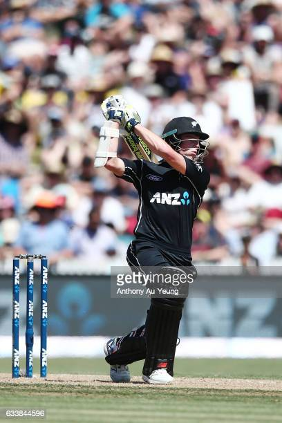 Mitchell Santner of New Zealand bats during game three of the One Day International series between New Zealand and Australia at Seddon Park on...