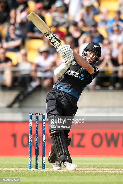 Mitchell Santner of New Zealand bats during game two of the one day international series between New Zealand and Australia at Westpac Stadium on...